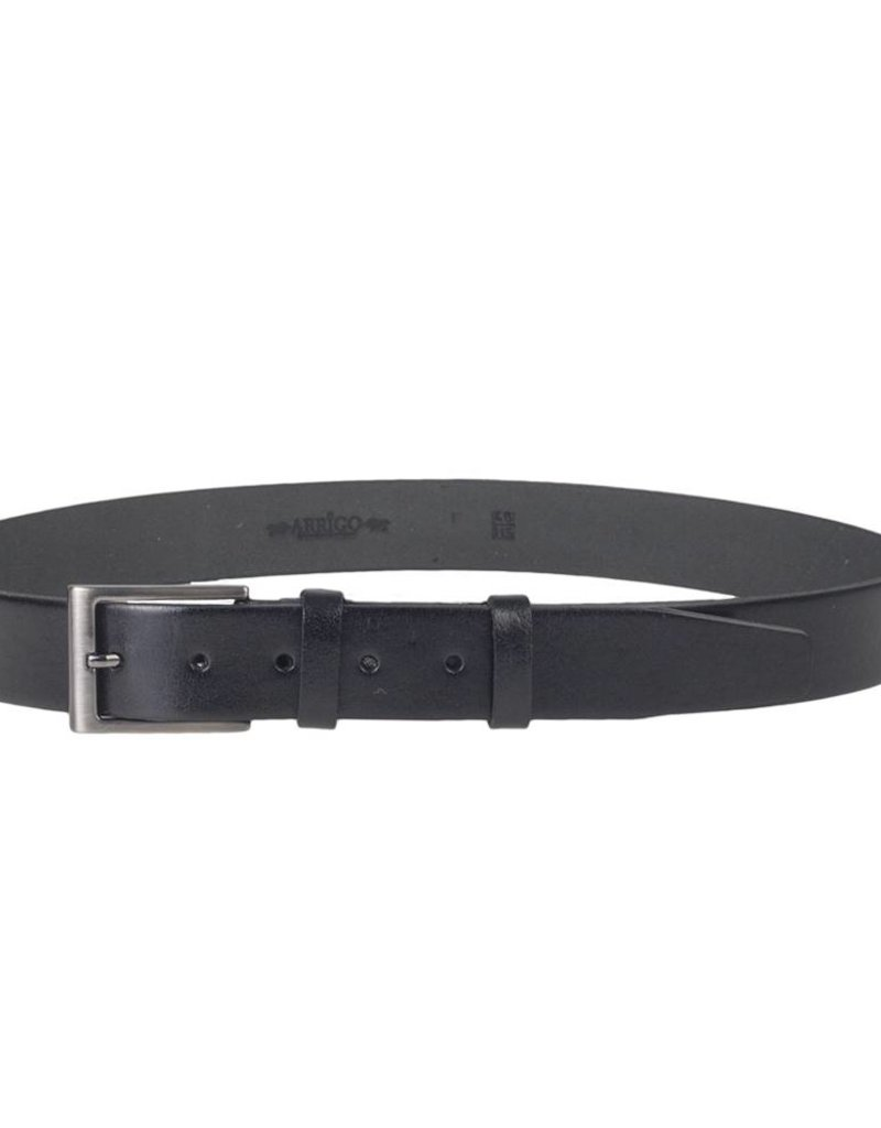 Arrigo Black leather belt made of high-quality full grain thick leather with stylish buckle with a dark finish 3.5 cm wide size 115