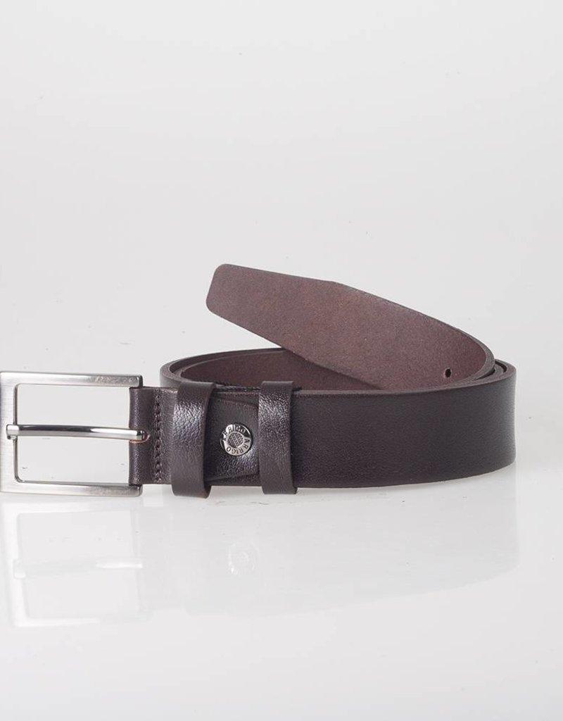Arrigo Leren riem donkerbruin gemaakt van hoogwaardig volnerf dik leder met stijlvolle gesp met een donkere finish 3,5 cm breed maat 115