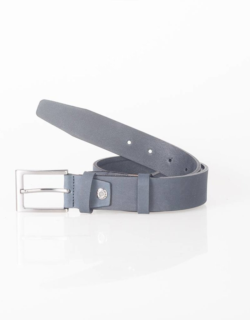 Arrigo Dark blue belt made of high quality buffalo leather (Timberland leather) with stylish buckle with a dark finish 3.5 cm wide size 115