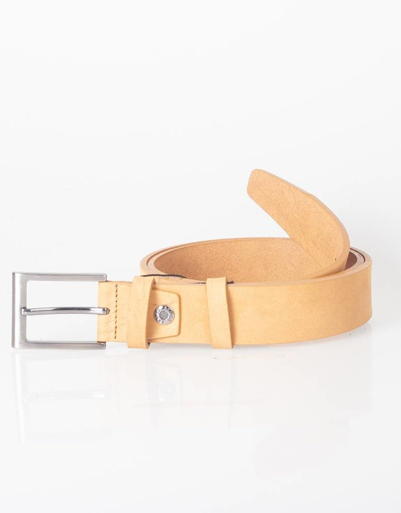 Arrigo Cognac (light brown) belt made of high quality buffalo leather (Timberland leather) with stylish buckle with a dark finish 3.5 cm wide size 115