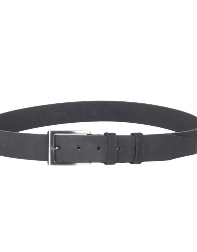 Arrigo Black belt made of high quality buffalo leather (Timberland leather) with stylish buckle with a dark finish 3.5 cm wide size 115
