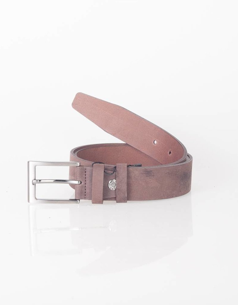 Arrigo Dark brown belt made of high quality buffalo leather (Timberland leather) with stylish buckle with a dark finish 3.5 cm wide size 115