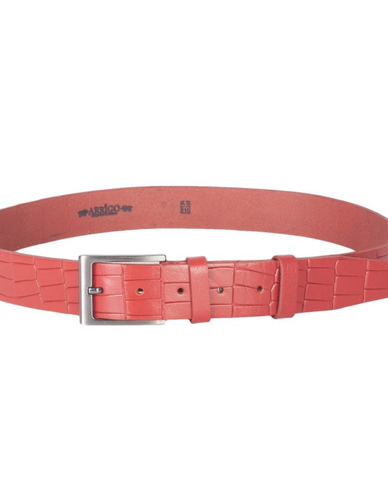 Arrigo Leather belt made of high quality buffalo leather smooth in ferrari red leather printed with stylish buckle with a dark finish 3.5 cm wide size 115