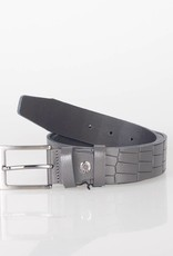 Arrigo Leather belt made of high quality buffalo leather smooth in gray leather printed with stylish buckle with a dark finish 3.5 cm wide size 115