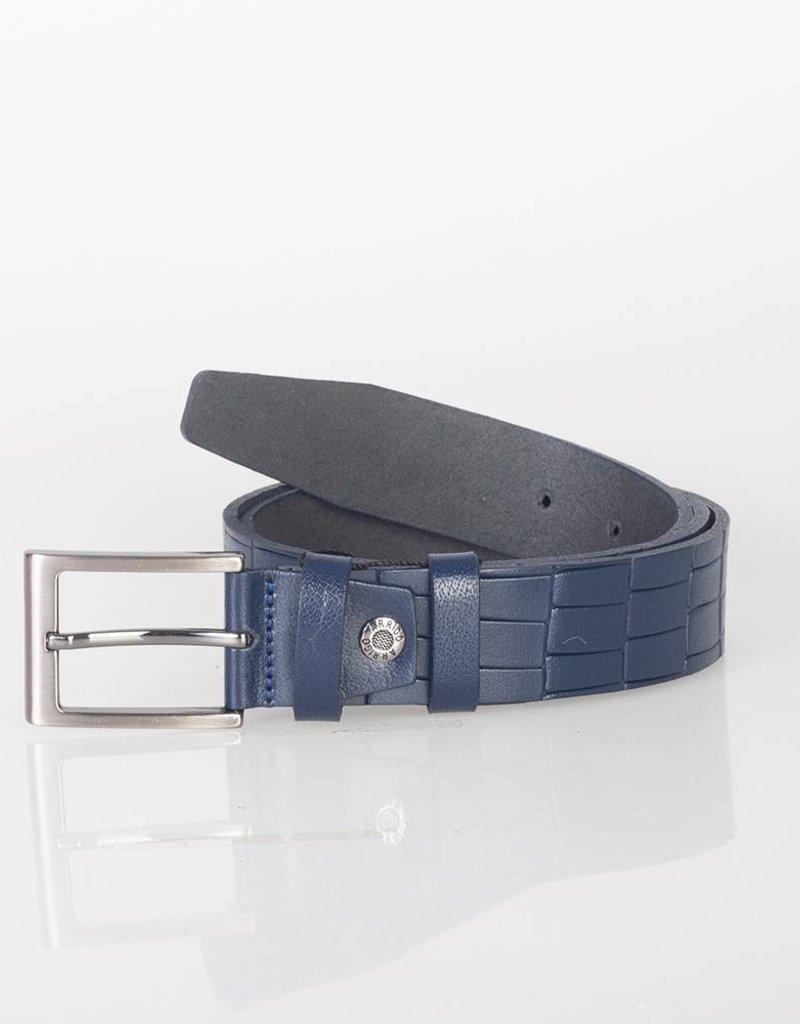 Arrigo Leren riem gemaakt van hoogwaardig buffelleer glad in donkerblauw leer op geprint met stijlvolle gesp met een donkere finish 3,5 cm breed maat 115