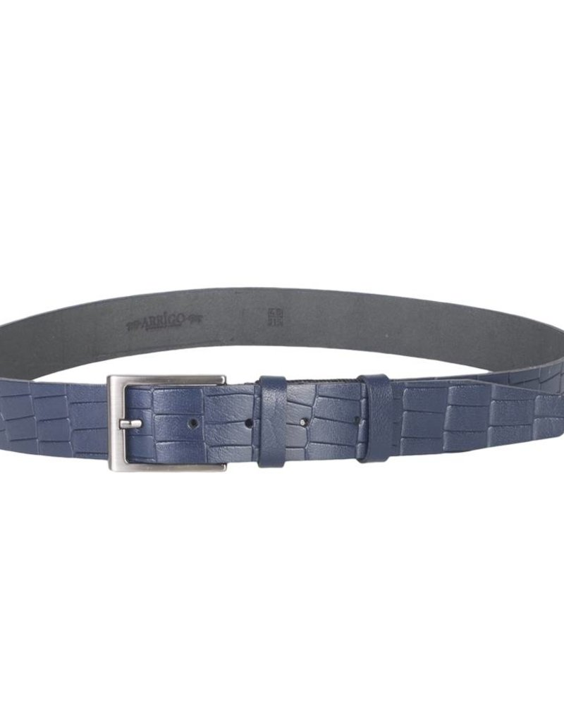 Arrigo Leather belt made of high quality buffalo leather smooth in dark blue leather printed with stylish buckle with a dark finish 3.5 cm wide size 115