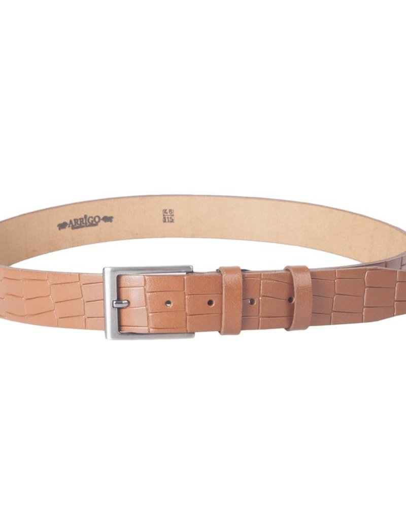 Arrigo Leather belt made of high quality buffalo leather smooth in cognac (light brown / natural) leather on printed with stylish buckle with a dark finish 3.5 cm wide size 115