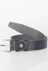 Arrigo Leather belt made of high quality buffalo leather smooth in black leather printed with stylish buckle with a dark finish 3.5 cm wide size 115