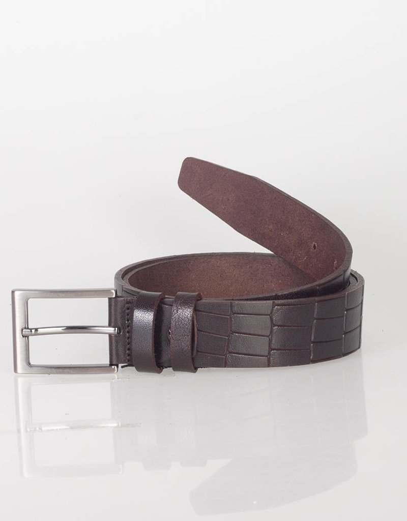 Arrigo Leather belt made of high quality buffalo leather smooth in dark brown leather printed with stylish buckle with a dark finish 3.5 cm wide size 115