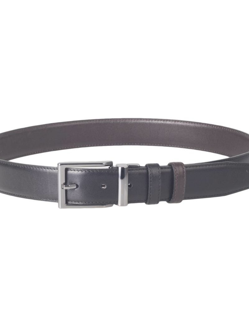 Arrigo Leather belt double-sided 1 side black and other side dark brown 3.5 cm wide size 115
