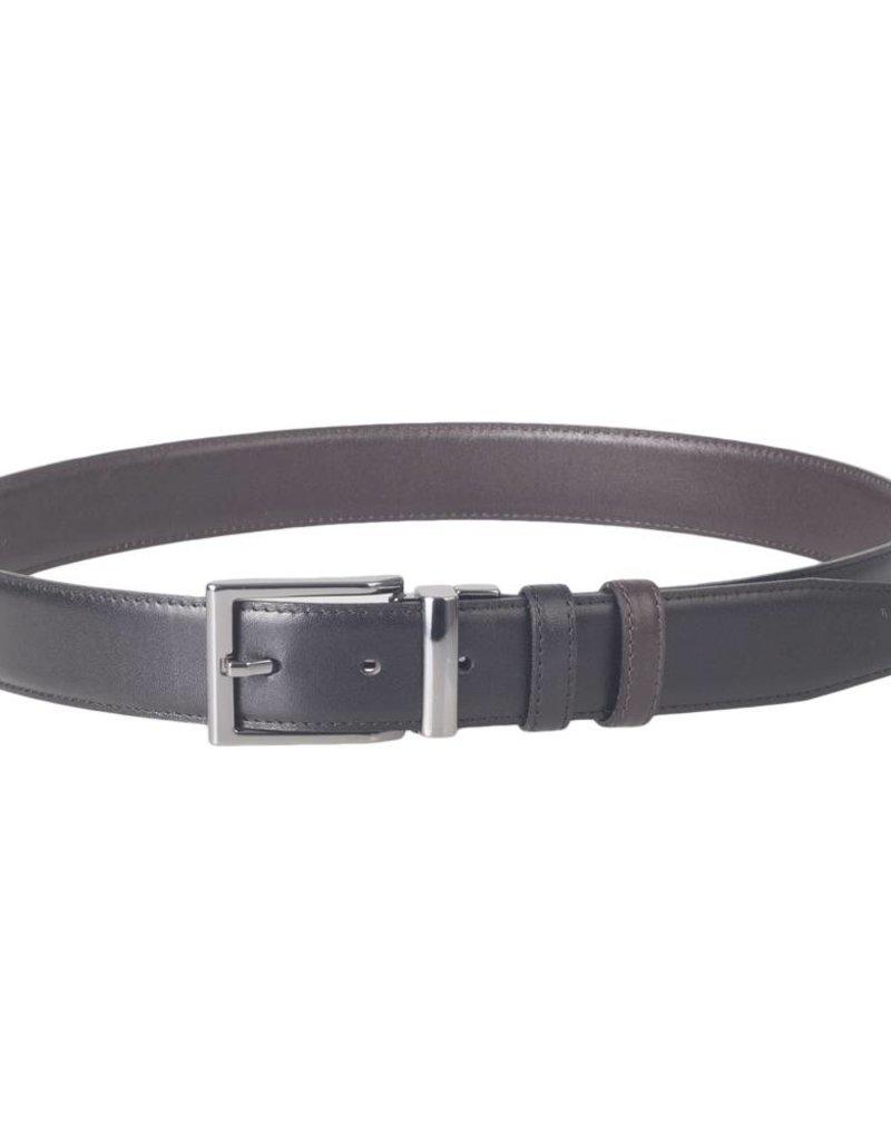 Arrigo Leren riem dubbelzijdig 1 kant zwart en andere kant donkerbruin 3,5 cm breed maat 115 Arrigo