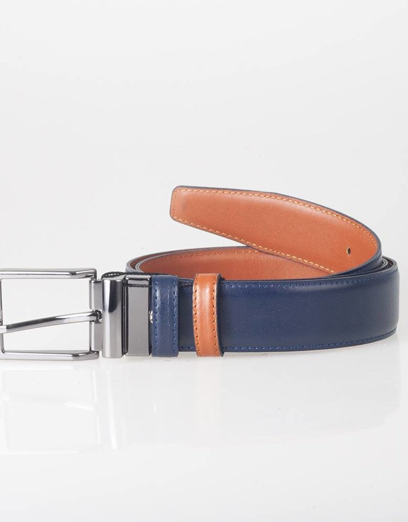 Arrigo Leather belt double sided 1 side cognac and other side dark blue 3.5 cm wide size 115
