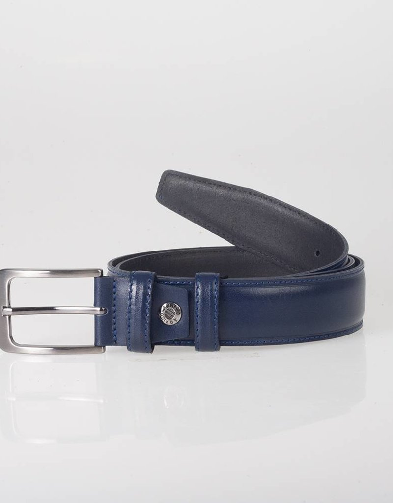 Arrigo Italian leather belt in dark blue leather with stylish dark Silver buckle 3,5 cm wide size 115
