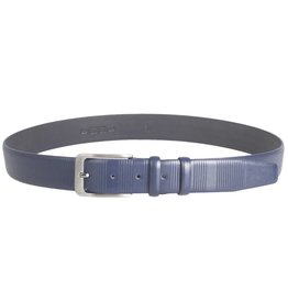Arrigo Luxury leather belt in dark blue with stylish dark silver buckle