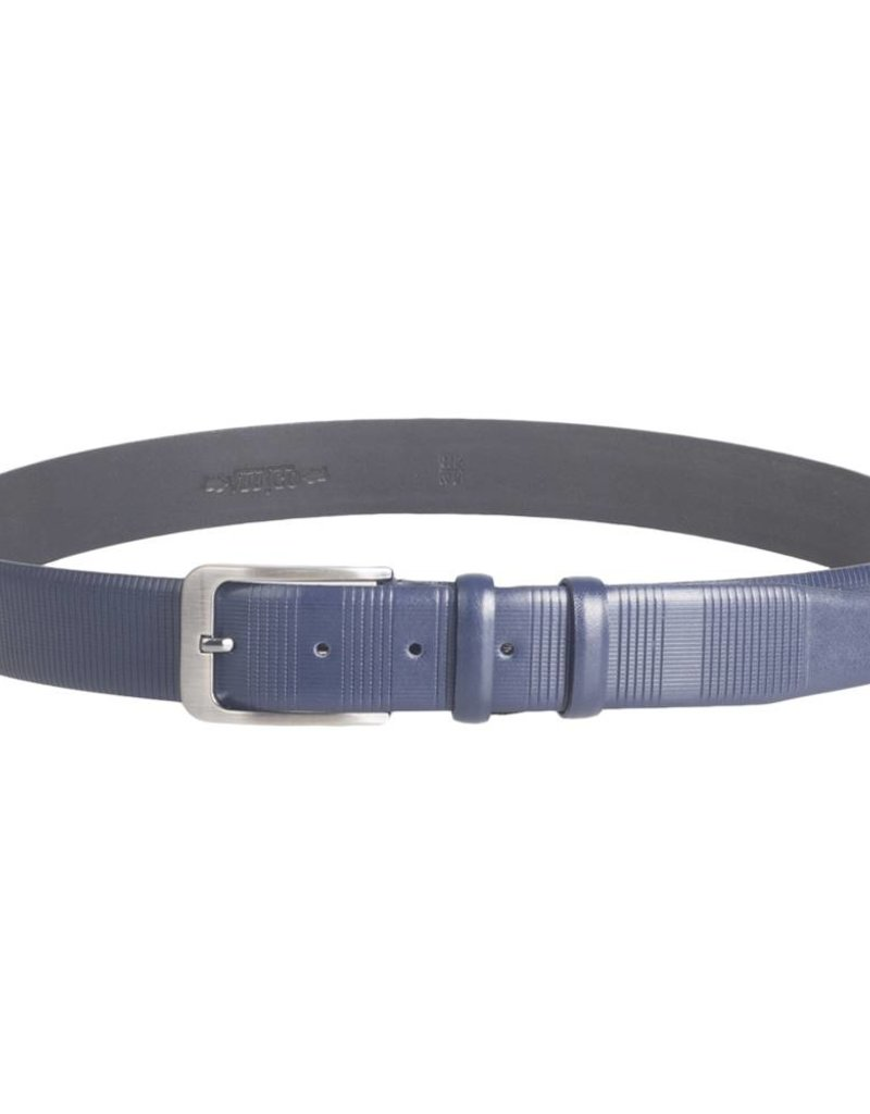 Arrigo Luxury leather belt in dark blue leather with stylish dark Silver buckle 3.5 cm wide size 115