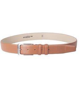 Arrigo Luxury leather belt in cognac (light brown) with stylish dark silver buckle