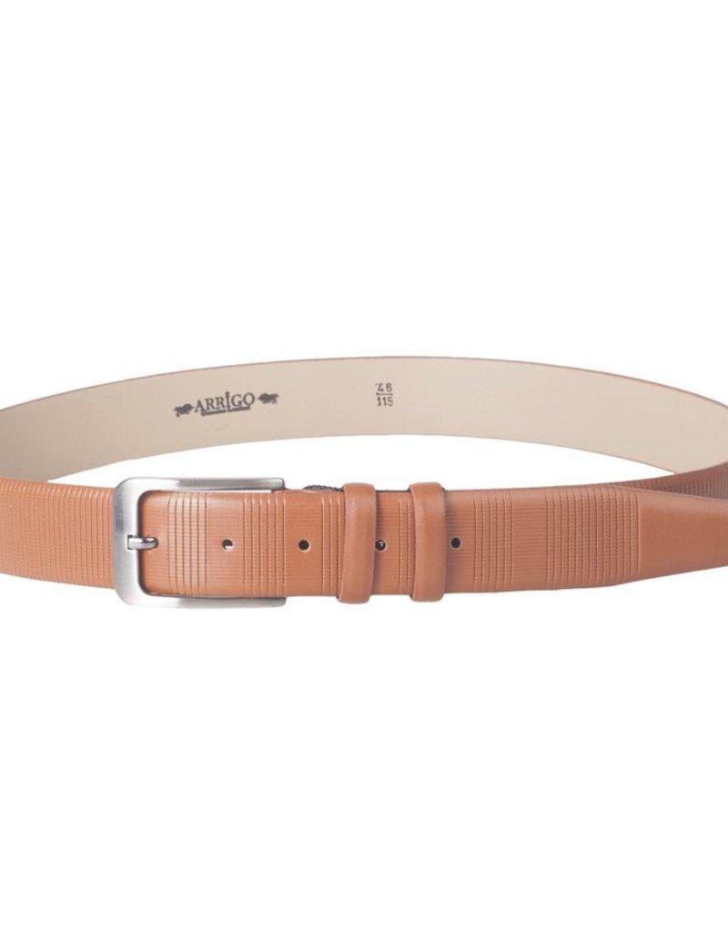 Arrigo Luxury leather belt in cognac (light brown) leather with stylish dark Silver buckle 3,5 cm wide size 115