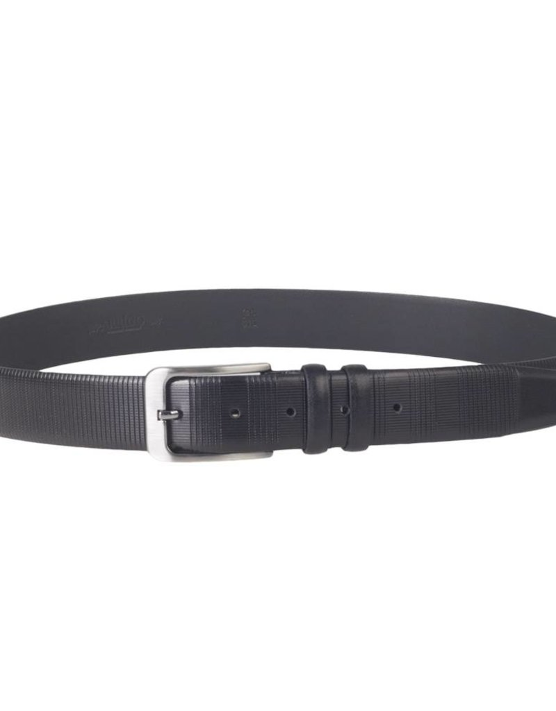 Arrigo Luxury leather belt in black leather with stylish dark Silver buckle 3.5 cm wide size 115