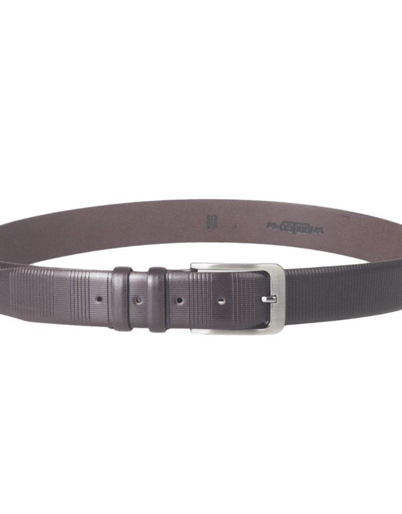 Arrigo Luxe leren riem in donkerbruin leer met stijlvolle donker Zilver gesp 3,5 cm breed maat 115 Arrigo