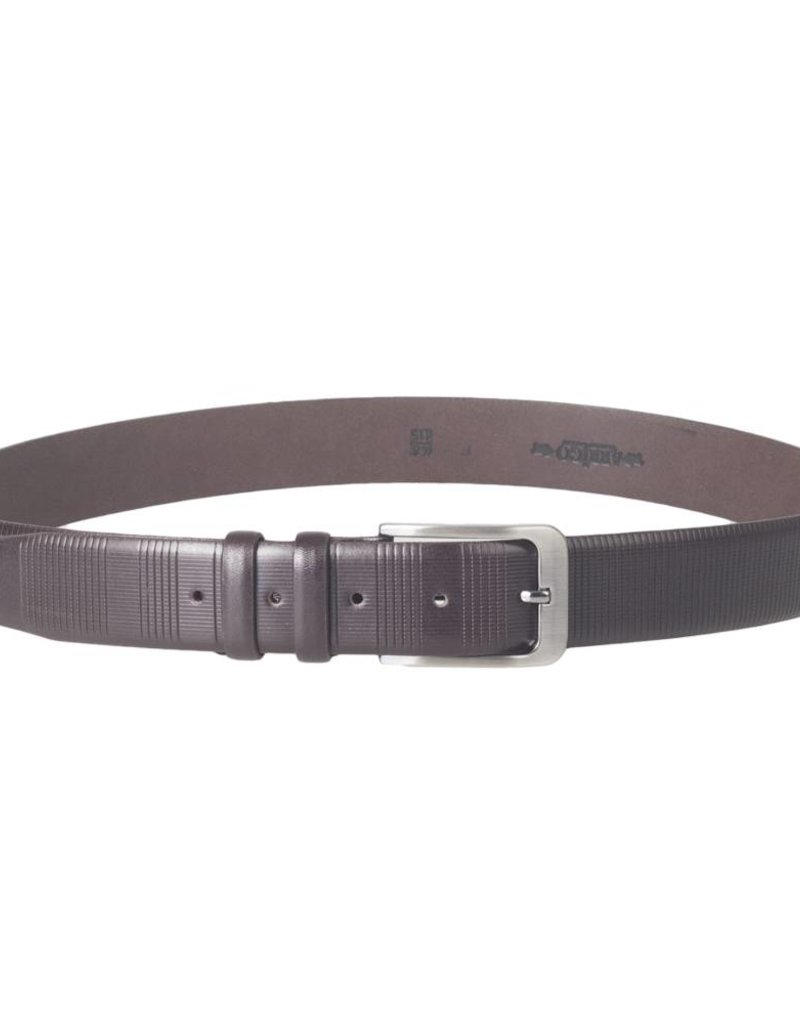 Arrigo Luxury leather belt in dark brown leather with stylish dark Silver buckle 3,5 cm wide size 115