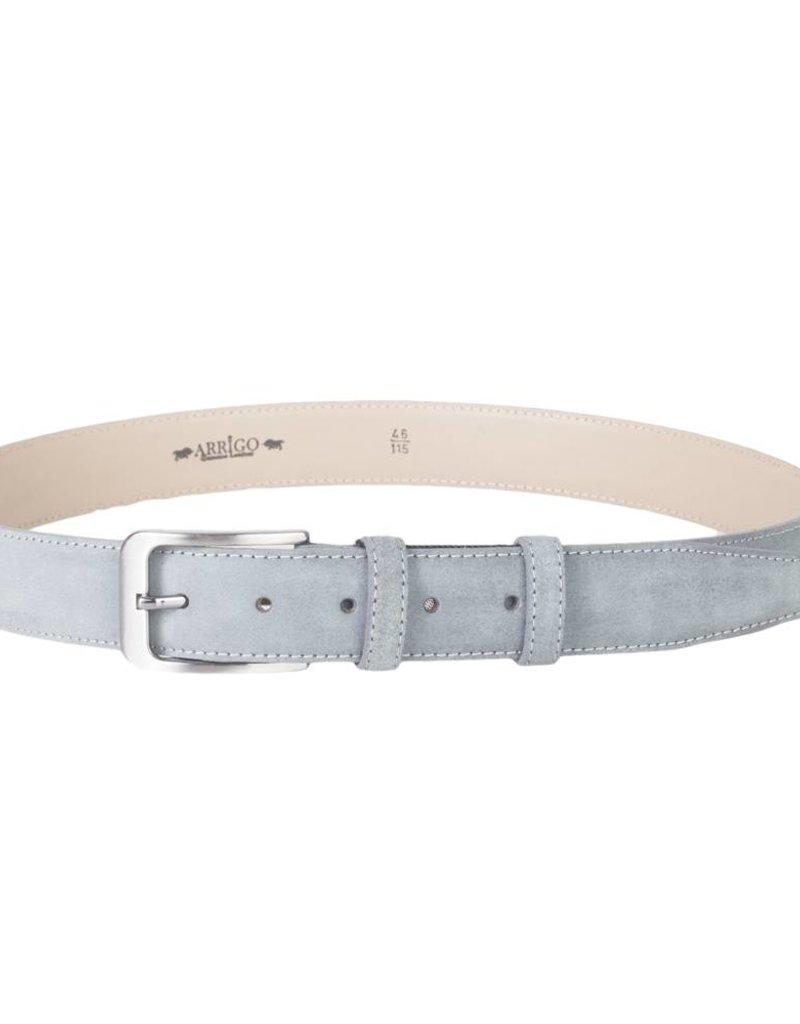 Arrigo Suède lederen riem in grijs leer met stijlvolle donker Zilver gesp 3,5 cm breed Arrigo maat 115