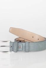 Arrigo Suede leather belt in gray leather with stylish dark Silver buckle 3.5 cm wide Arrigo size 115