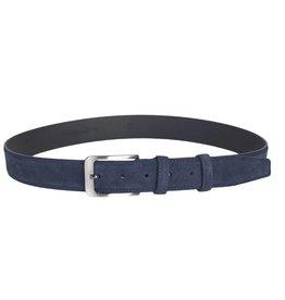 Arrigo Suede leather belt in dark blue leather with stylish dark Silver buckle 3.5 cm wide Arrigo size 115