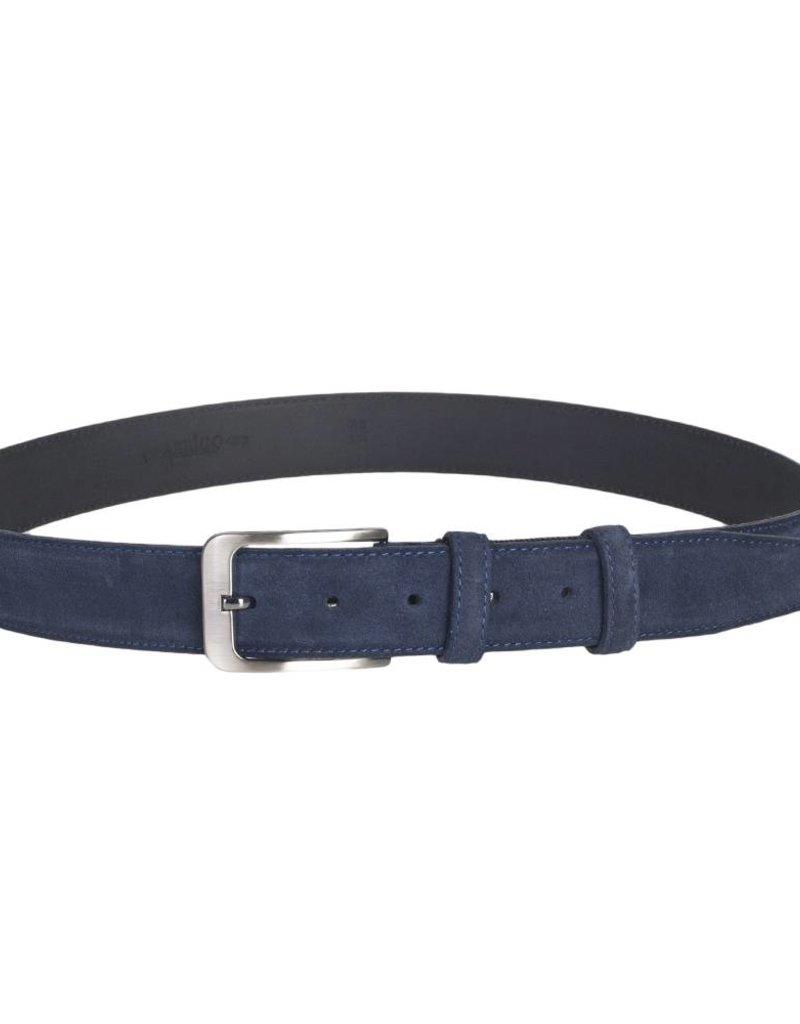 Arrigo Suède lederen riem in donkerblauw leer met stijlvolle donker Zilver gesp 3,5 cm breed Arrigo maat 115
