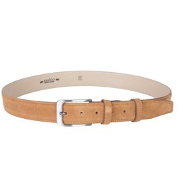 Arrigo Suede leather belt in cognac (natural / light brown) with stylish dark silver buckle