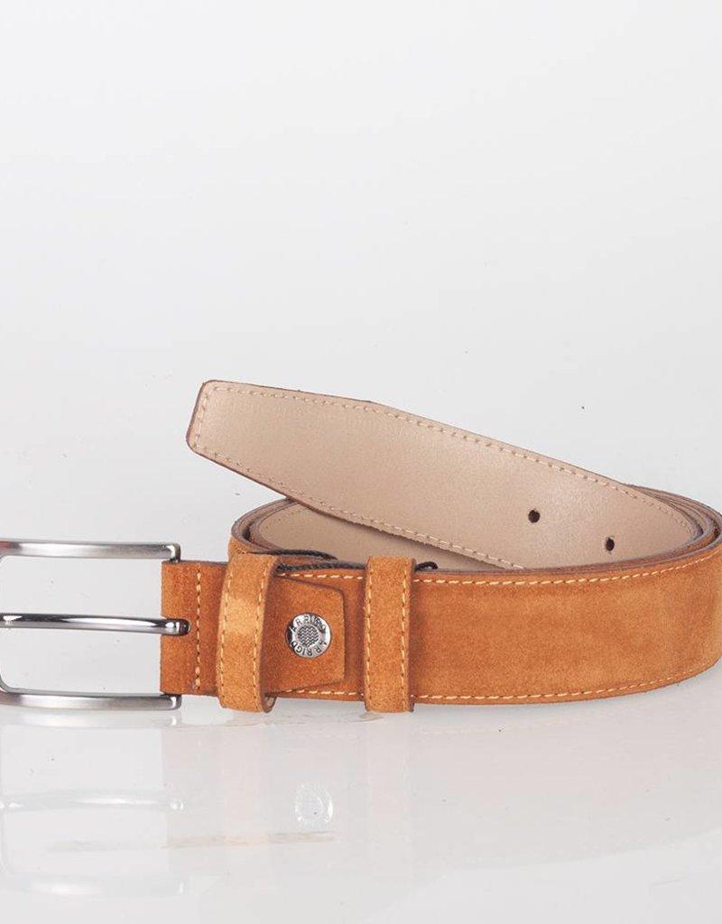 Arrigo Suede leather belt in cognac (natural / light brown) leather with stylish dark Silver buckle 3.5 cm wide Arrigo size 115