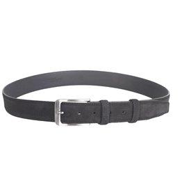 Arrigo Suede leather belt in black with stylish dark silver buckle