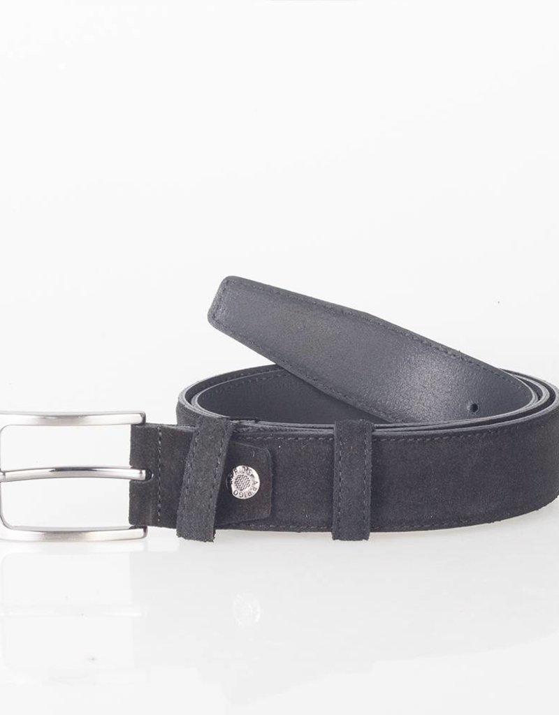 Arrigo Suede leather belt in black leather with stylish dark Silver buckle 3.5 cm wide Arrigo size 115