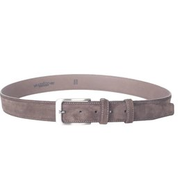 Arrigo Suede leather belt in dark brown with stylish dark silver buckle