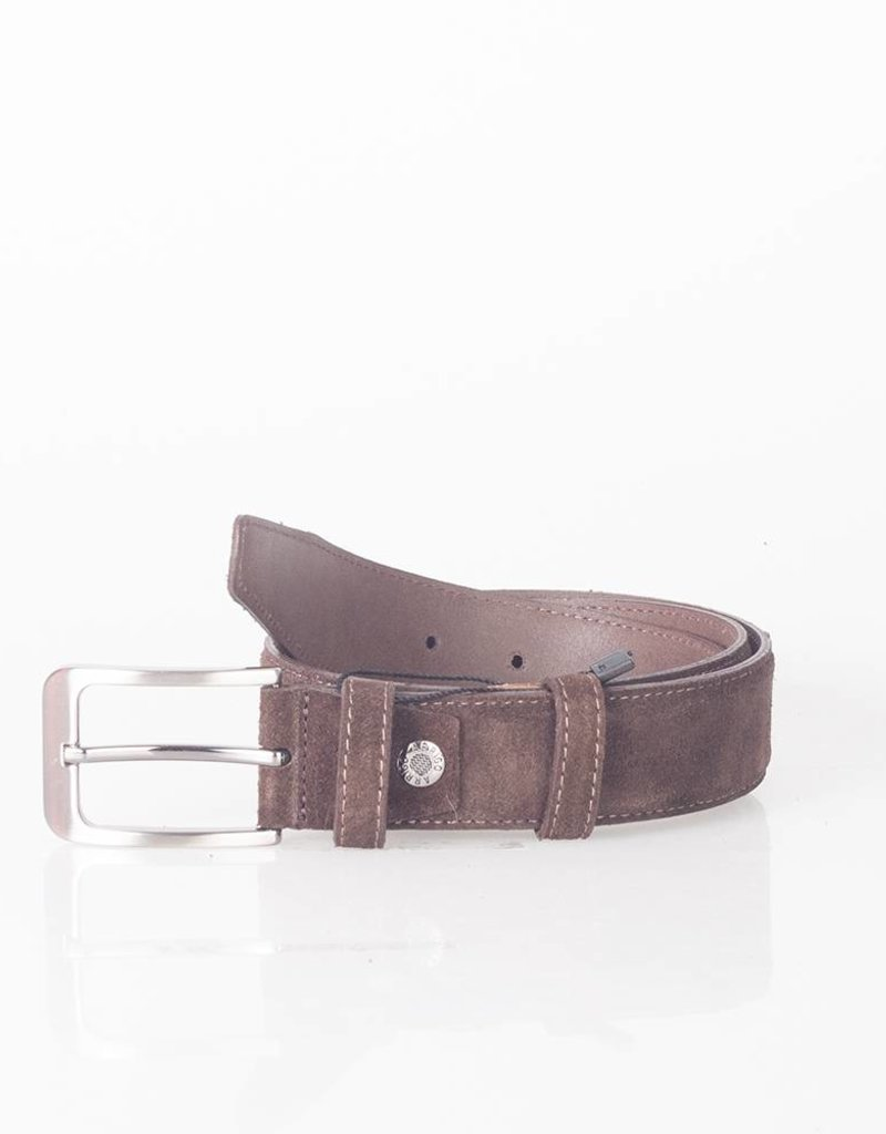 Arrigo Suede leather belt in dark brown leather with stylish dark Silver buckle 3.5 cm wide Arrigo size 115