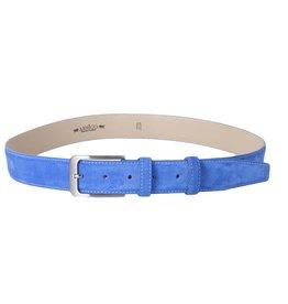 Arrigo Suede leather belt in light blue (bright blue) with stylish dark Silver buckle