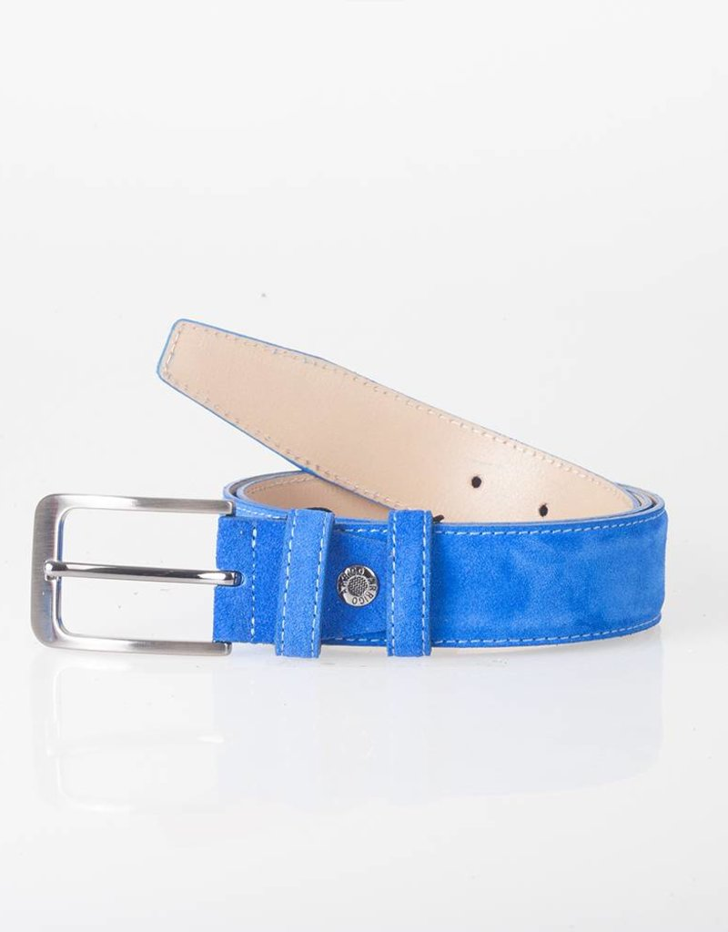 Arrigo Suede leather belt in light blue (bright blue) leather with stylish dark Silver buckle 3.5 cm wide Arrigo size 115