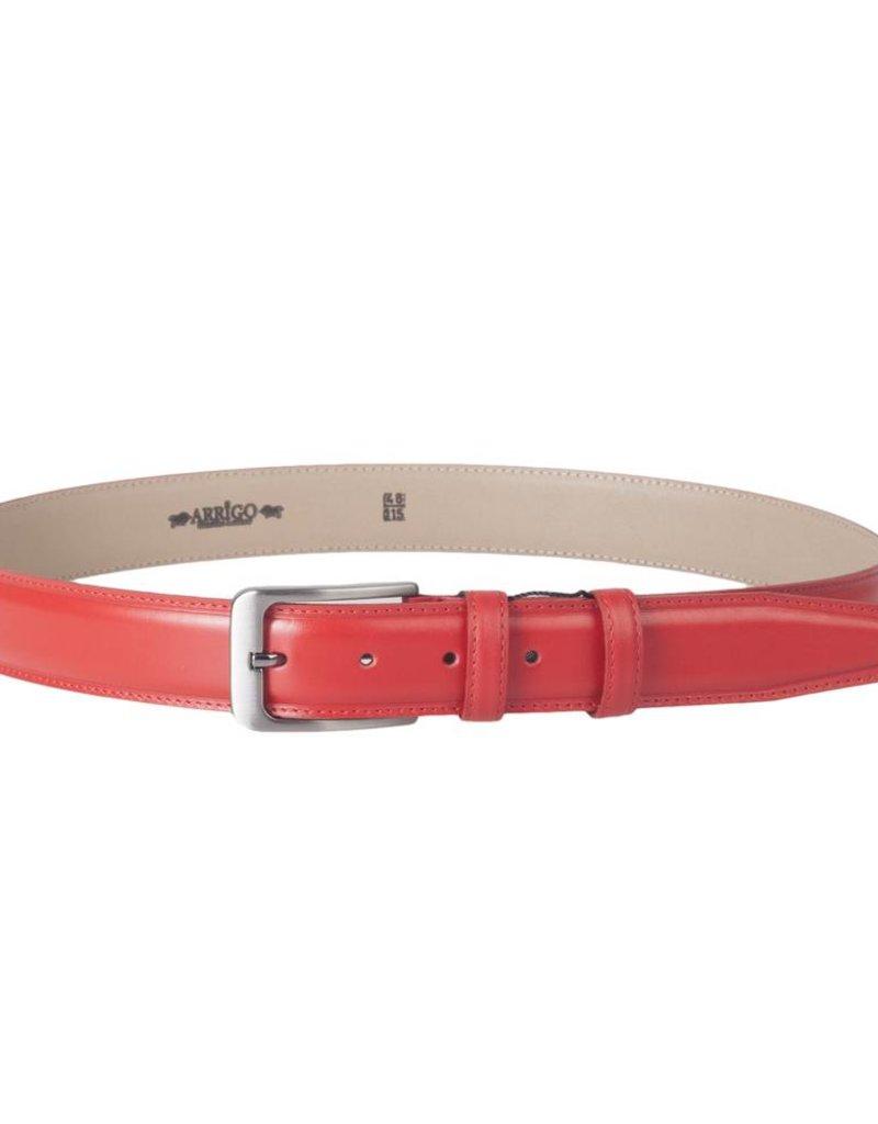 Arrigo Italian leather belt in ferrari red leather with stylish dark Silver buckle 3,5 cm wide size 115