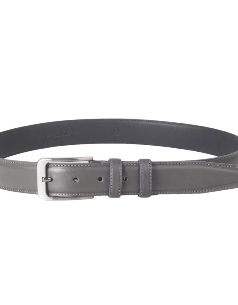 Arrigo Italian leather belt in gray leather with stylish dark Silver buckle 3,5 cm wide size 115