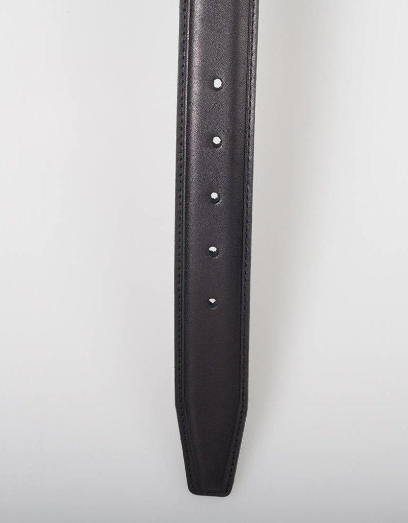 Arrigo Italiaanse leren riem in zwart leer met stijlvolle donker Zilver gesp 3,5 cm breed maat 115