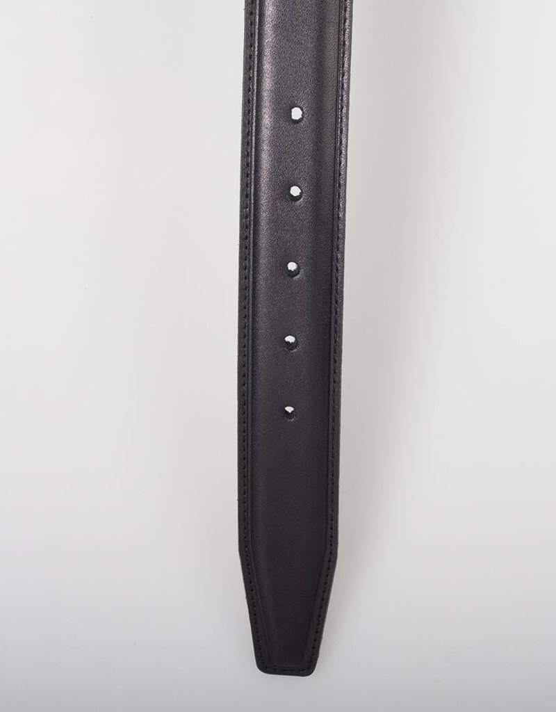 Arrigo Italian leather belt in black leather with stylish dark Silver buckle 3,5 cm wide size 115
