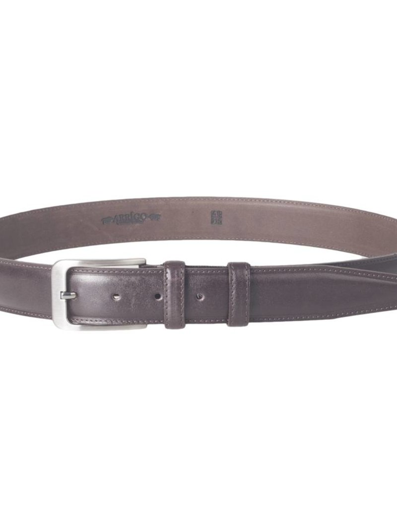 Arrigo Italian leather belt in dark brown leather with stylish dark Silver buckle 3,5 cm wide size 115
