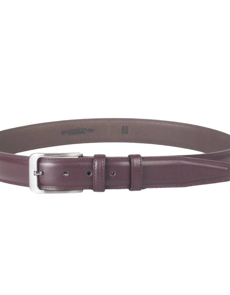 Arrigo Italian leather belt in dark red (burgundy red) leather with stylish dark Silver buckle 3,5 cm wide size 120