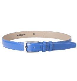 Arrigo Italian leather belt in light blue (bright blue) with stylish dark Silver buckle