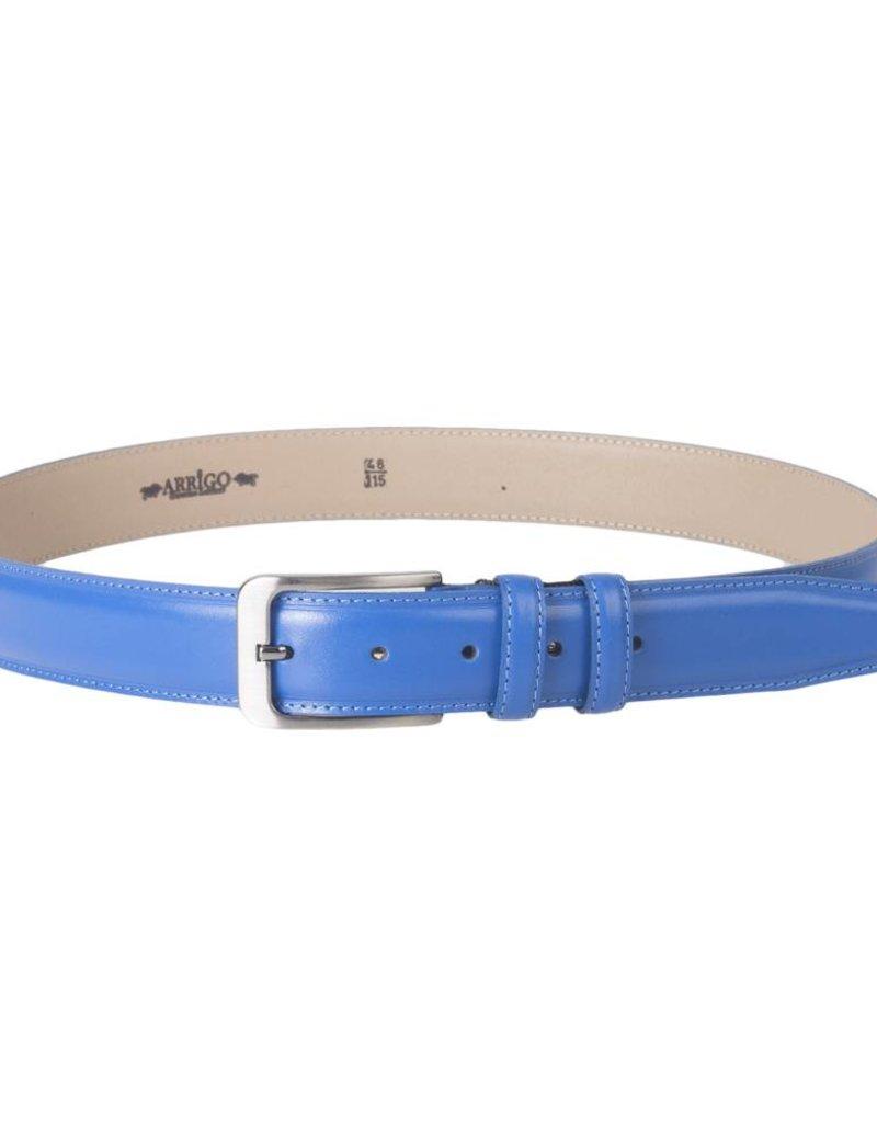 Arrigo Italian leather belt in light blue (bright blue) leather with stylish dark Silver buckle 3,5 cm wide size 115