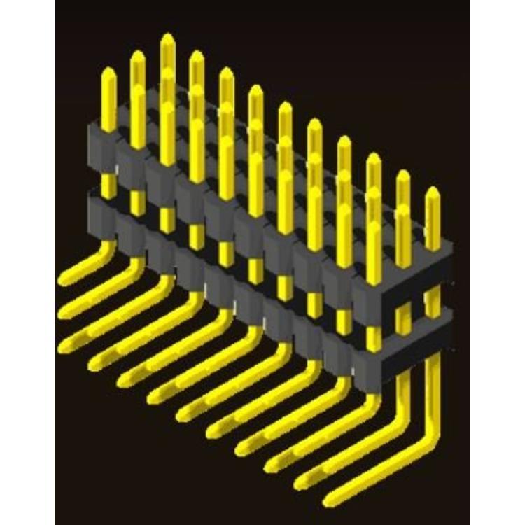AMTEK Technology Co. Ltd. 5PH1DRX25-1/2/3XX                             Pin Header 2.54mm H=2.5mm Stack Right Angle Type