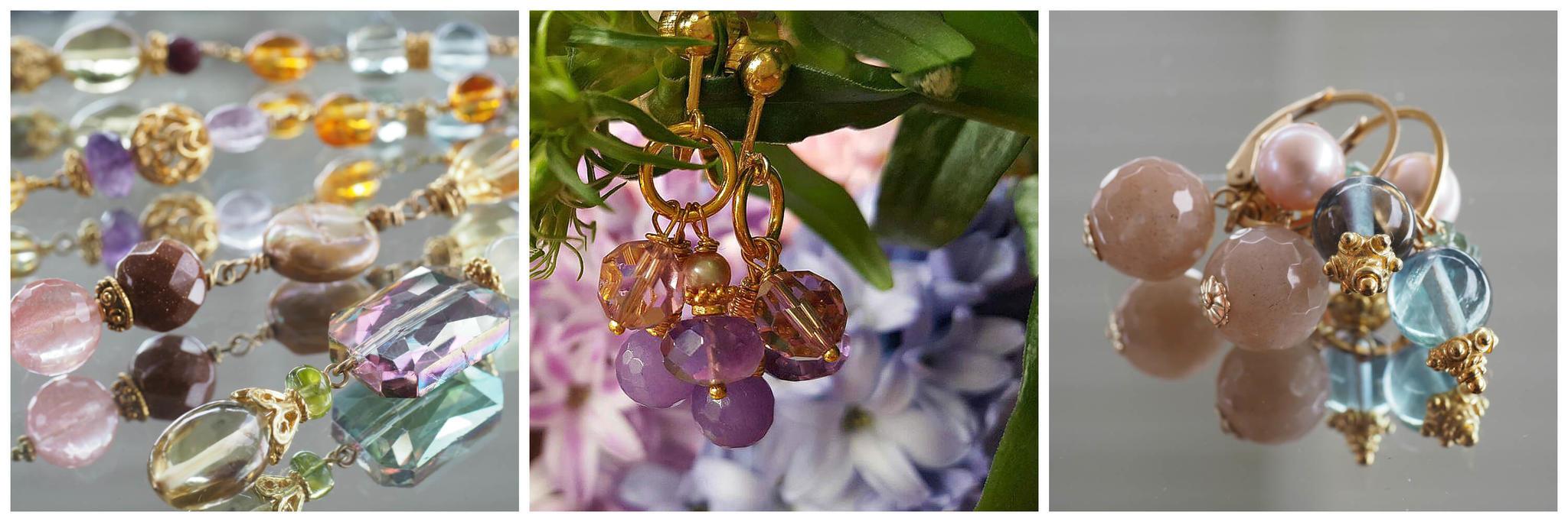 Handgemaakte oorbellen met edelstenen en clips