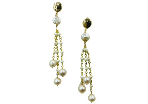 CLASSIC COLLECTION Gold white earrings
