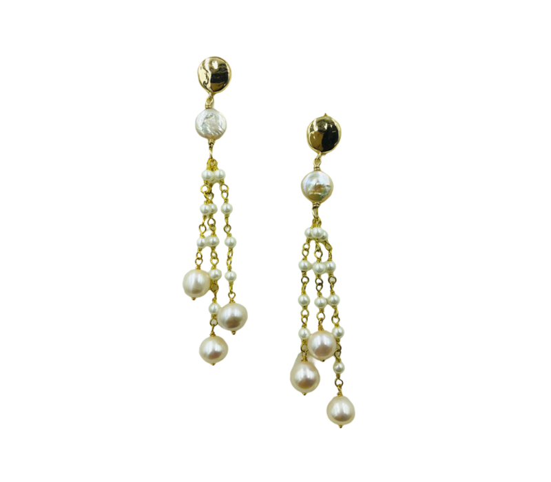 Earrings with Pearl and Imitation Pearl