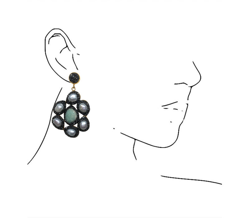 Earrings with Marcasite, Pearl and Agate