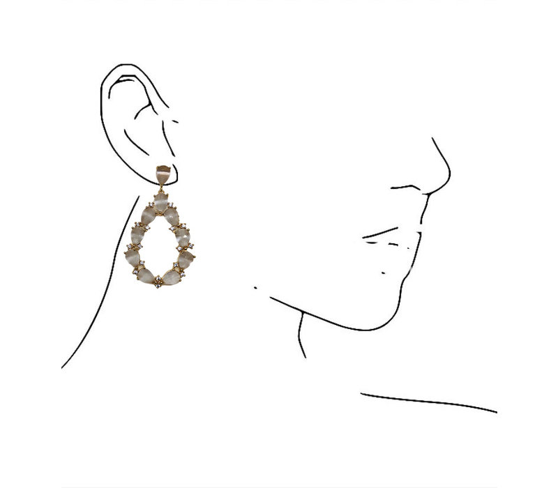 Earrings with Crystal - gray
